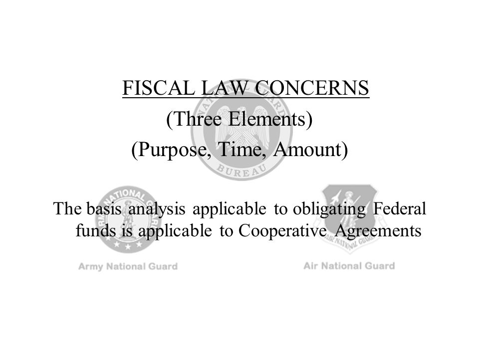 FISCAL LAW CONCERNS (Three Elements) (Purpose, Time, Amount)