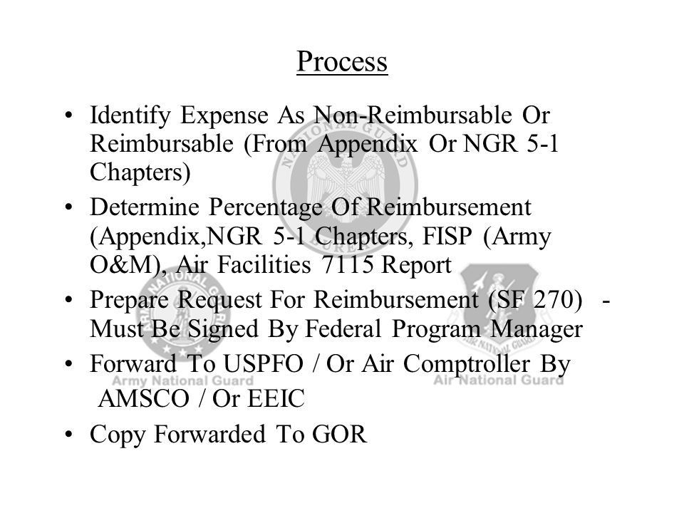 Process Identify Expense As Non-Reimbursable Or Reimbursable (From Appendix Or NGR 5-1 Chapters)