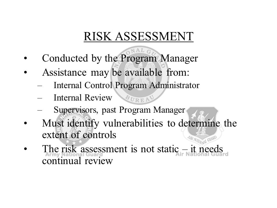RISK ASSESSMENT Conducted by the Program Manager