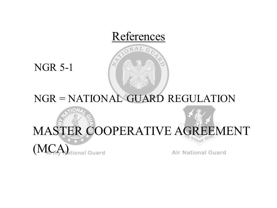 MASTER COOPERATIVE AGREEMENT (MCA)