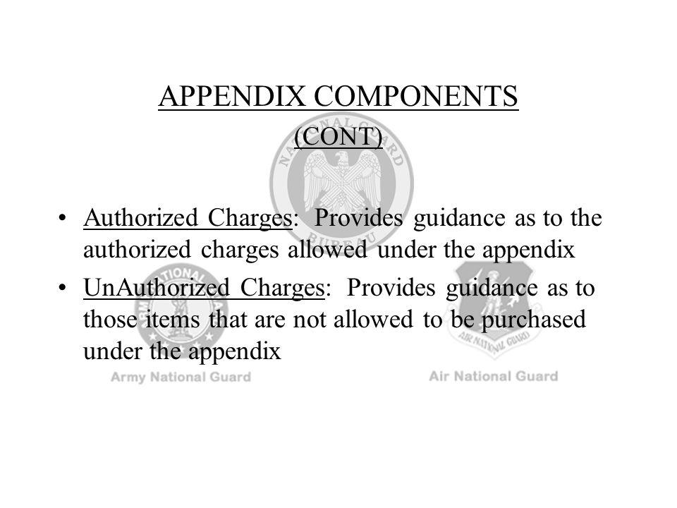 APPENDIX COMPONENTS (CONT)