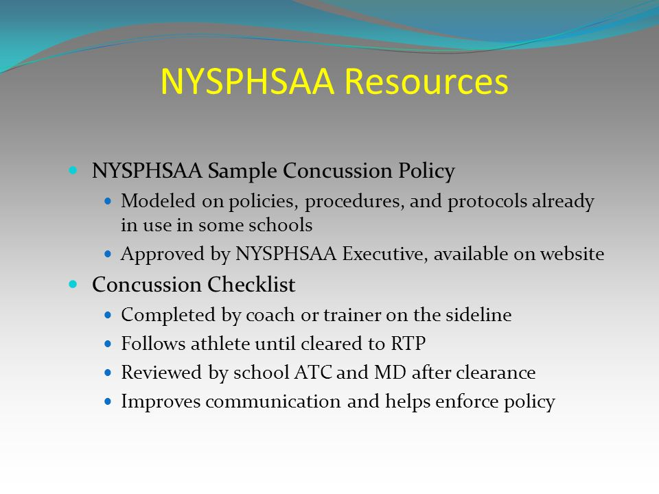 NYSPHSAA Resources NYSPHSAA Sample Concussion Policy