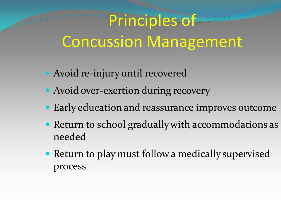 Principles of Concussion Management