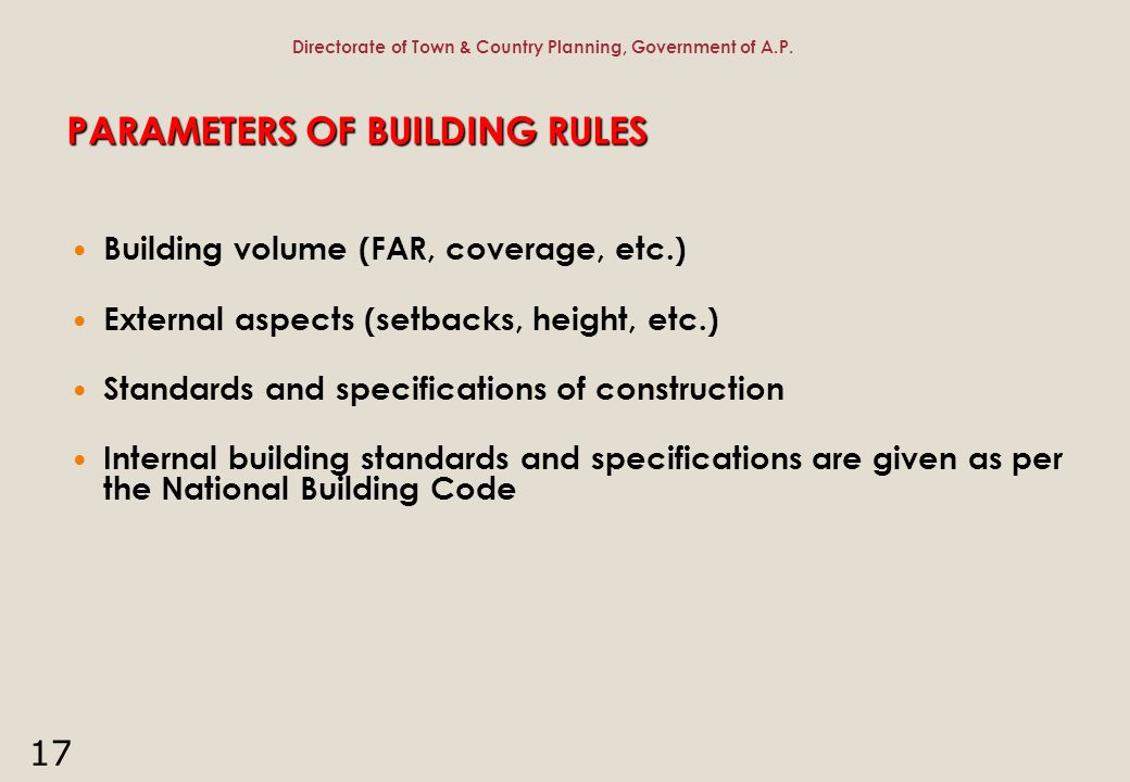 PARAMETERS OF BUILDING RULES