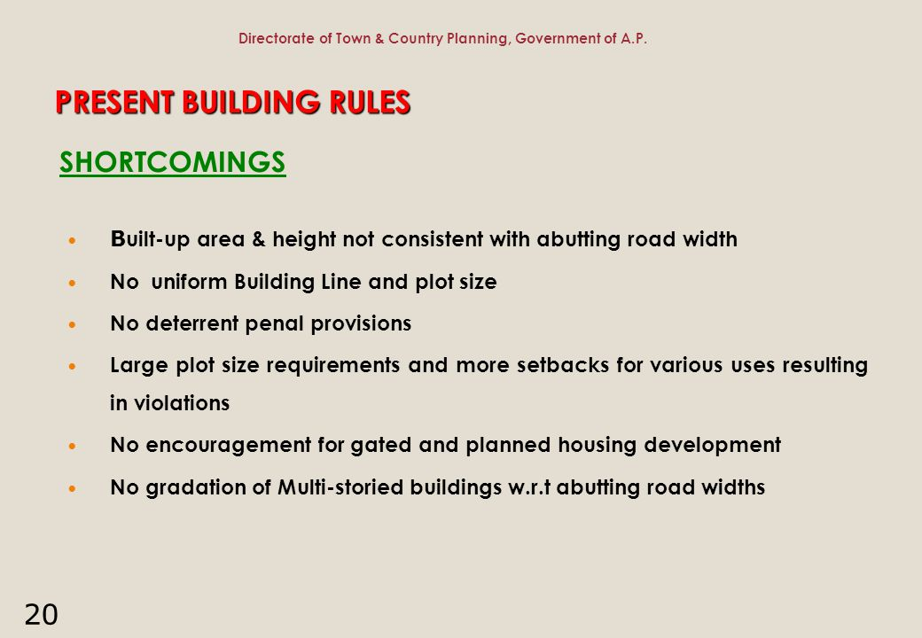 PRESENT BUILDING RULES