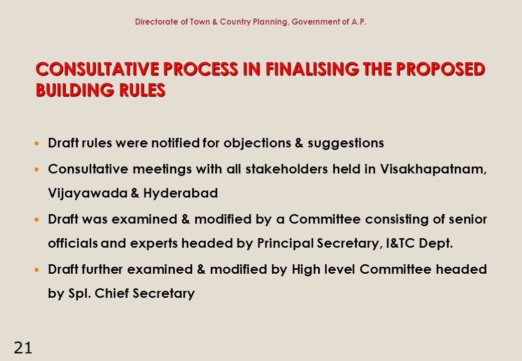 CONSULTATIVE PROCESS IN FINALISING THE PROPOSED BUILDING RULES