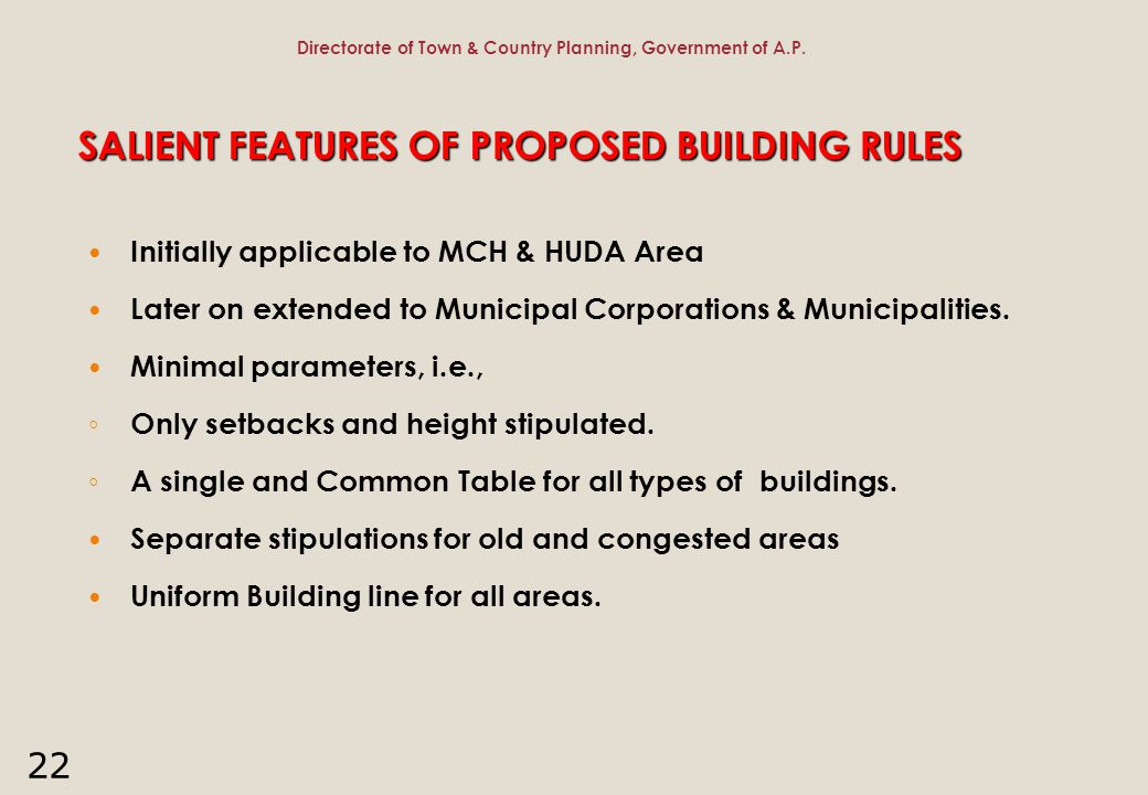 SALIENT FEATURES OF PROPOSED BUILDING RULES