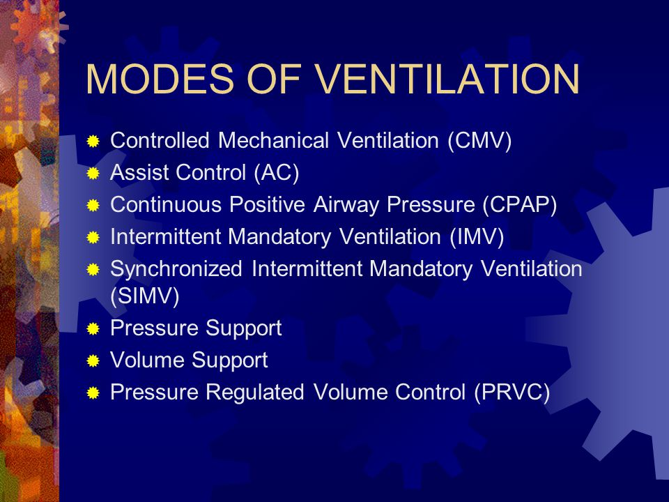 MODES OF VENTILATION Controlled Mechanical Ventilation (CMV)