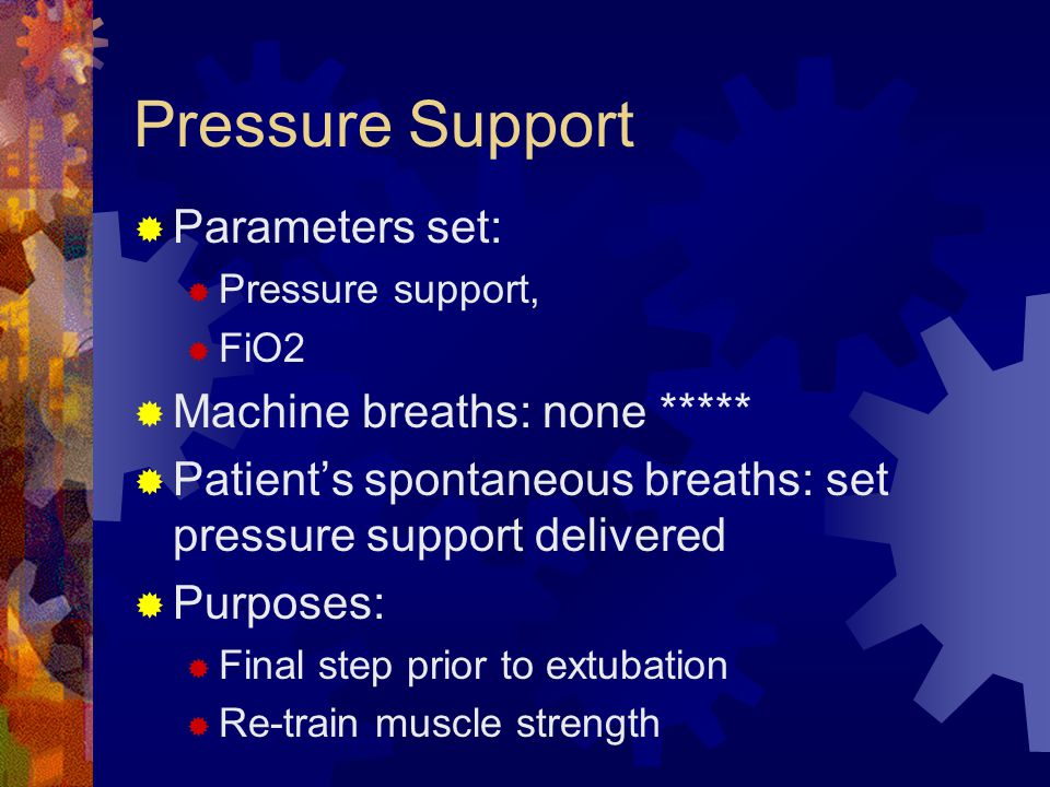Pressure Support Parameters set: Machine breaths: none *****