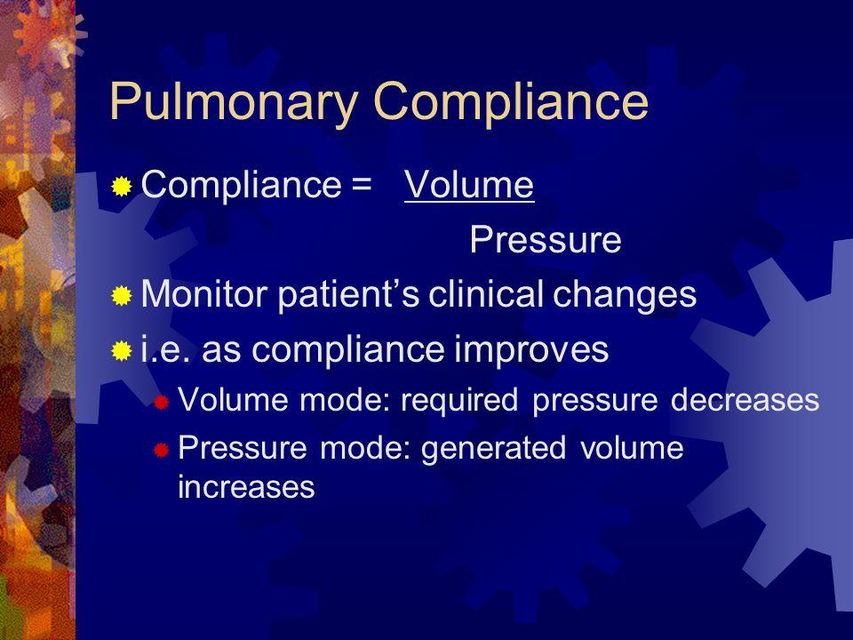 Pulmonary Compliance Compliance = Volume Pressure