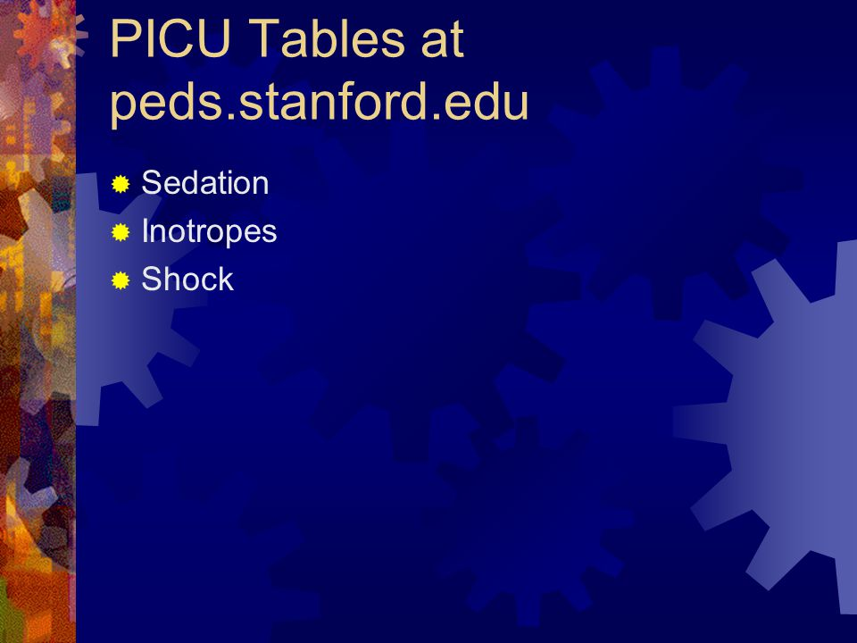PICU Tables at peds.stanford.edu