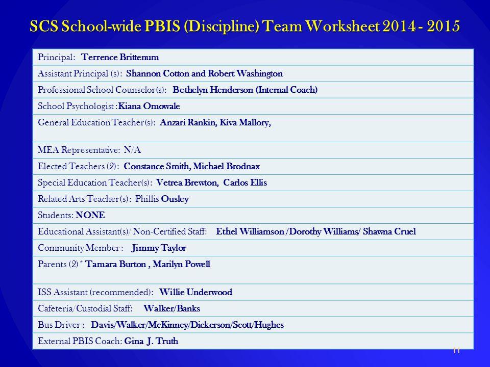 SCS School-wide PBIS (Discipline) Team Worksheet 2014 - 2015