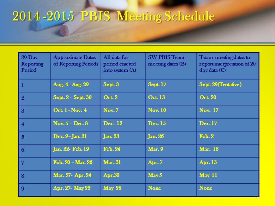 2014 -2015 PBIS Meeting Schedule