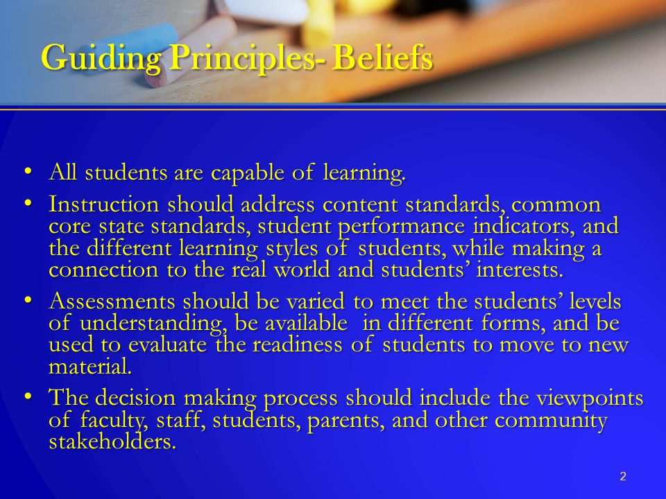 Guiding Principles- Beliefs