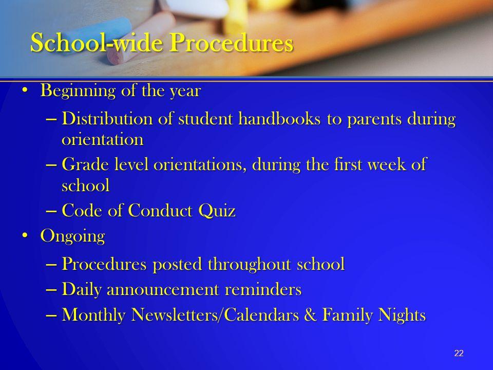 School-wide Procedures