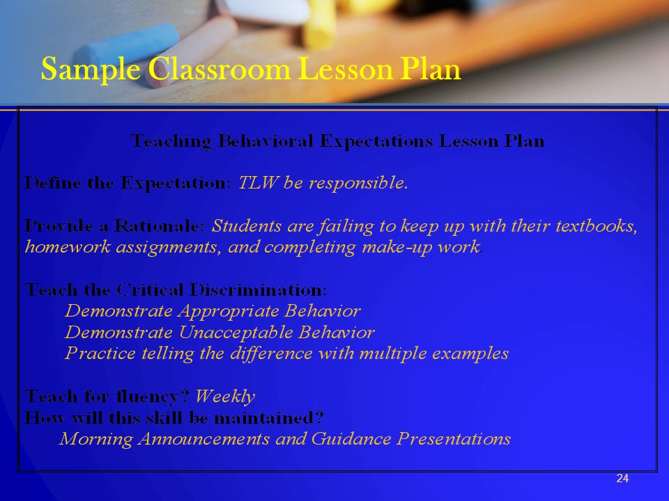 Sample Classroom Lesson Plan