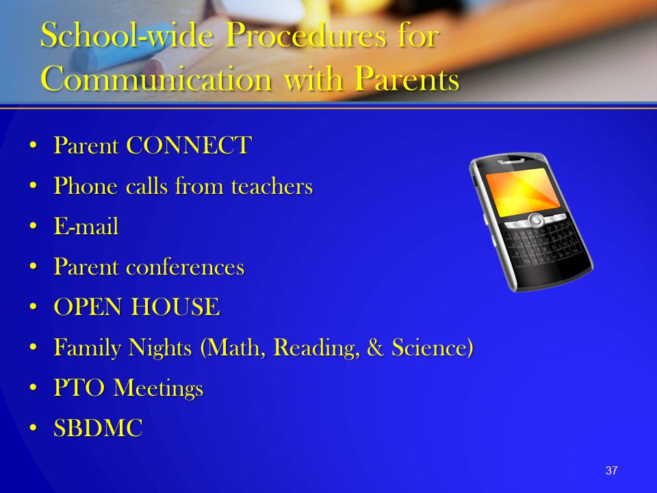 School-wide Procedures for Communication with Parents