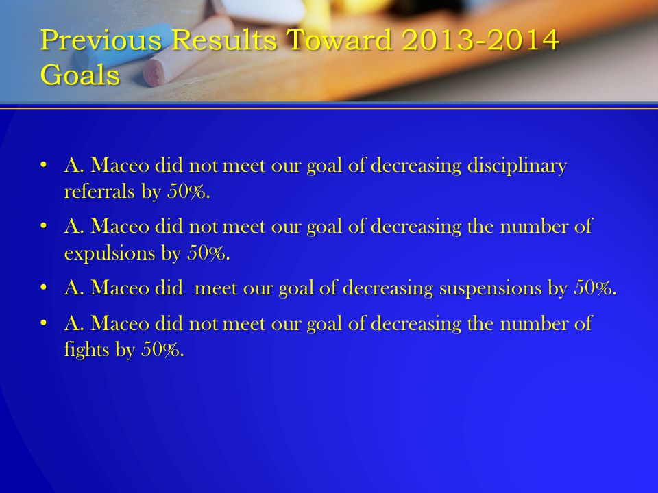 Previous Results Toward 2013-2014 Goals