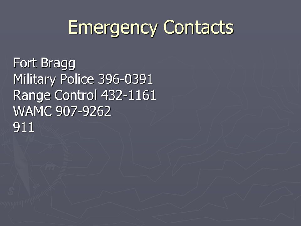 Emergency Contacts Fort Bragg Military Police 396-0391
