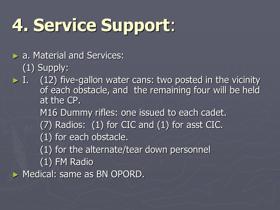 4. Service Support: a. Material and Services: (1) Supply: