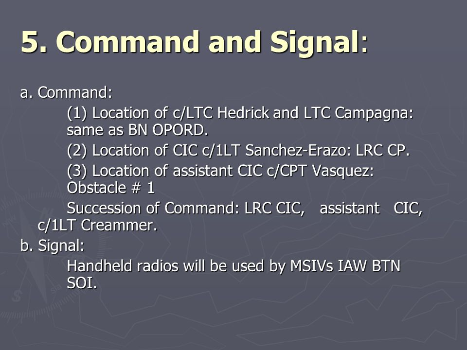 5. Command and Signal: a. Command:
