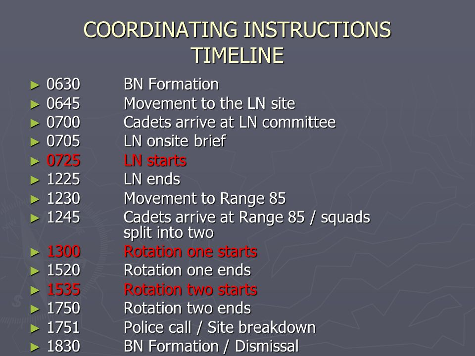 COORDINATING INSTRUCTIONS TIMELINE