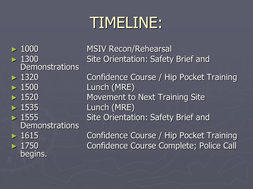 TIMELINE: 1000 MSIV Recon/Rehearsal