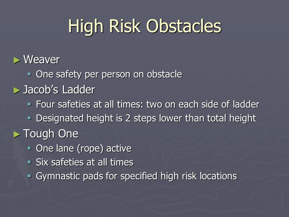 High Risk Obstacles Weaver Jacob's Ladder Tough One