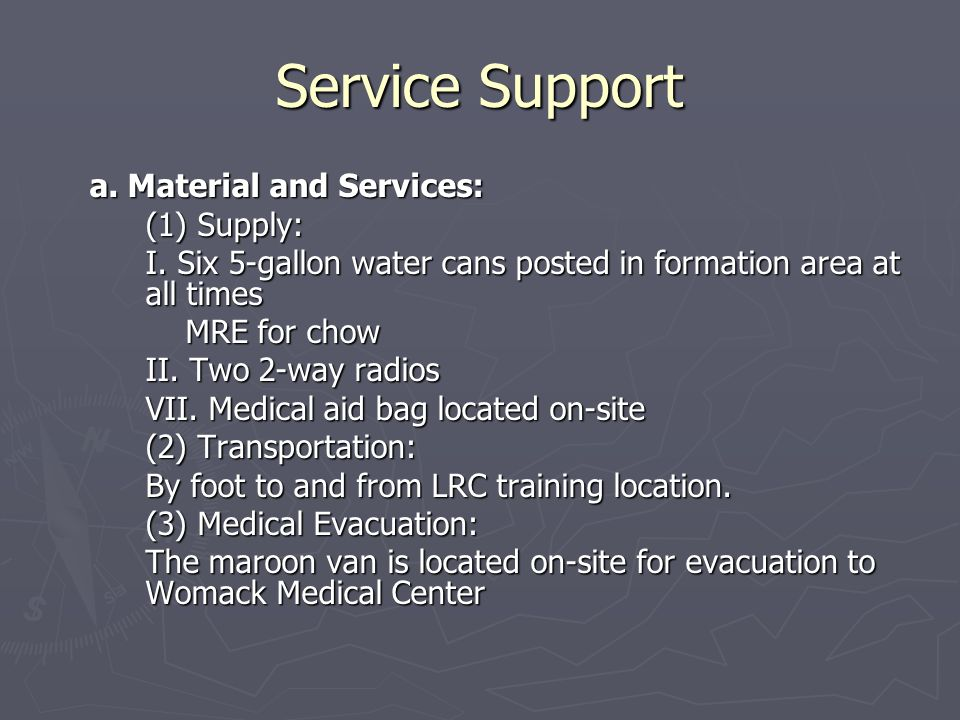Service Support a. Material and Services: (1) Supply: