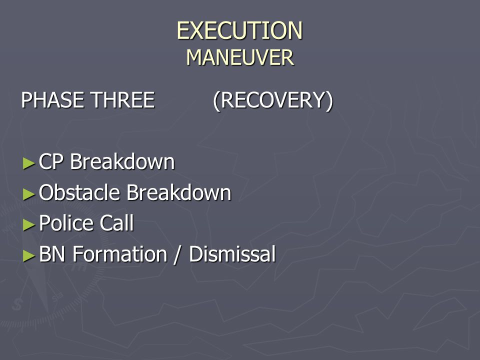 EXECUTION MANEUVER PHASE THREE (RECOVERY) CP Breakdown