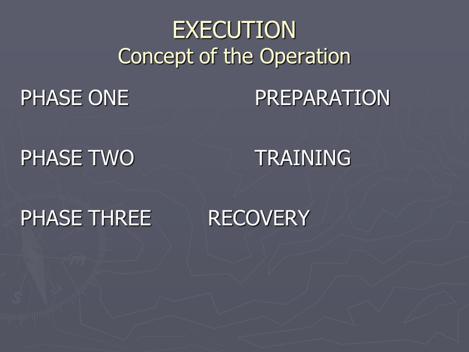 EXECUTION Concept of the Operation