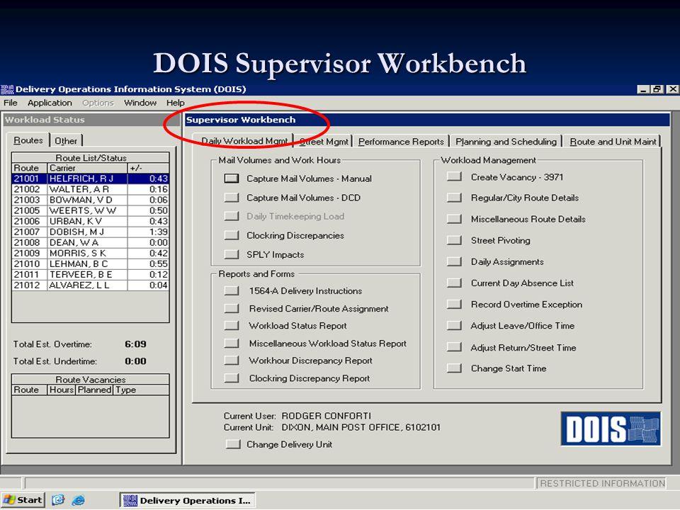 DOIS Supervisor Workbench
