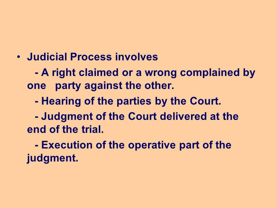 Judicial Process involves