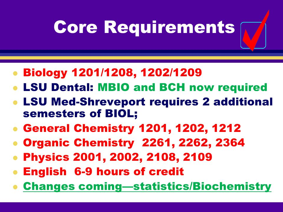 Core Requirements Biology 1201/1208, 1202/1209