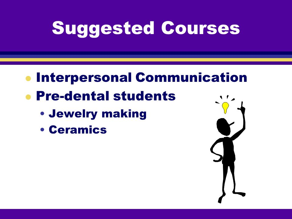 Suggested Courses Interpersonal Communication Pre-dental students