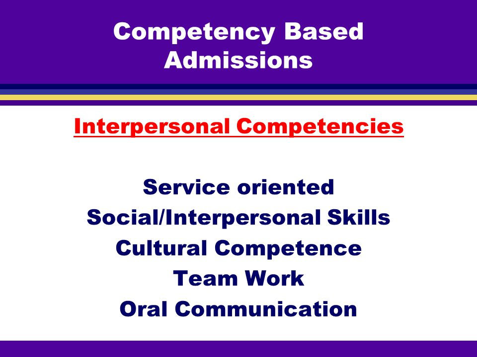 Competency Based Admissions