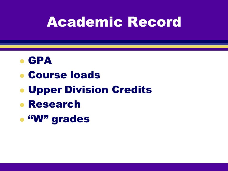 Academic Record GPA Course loads Upper Division Credits Research