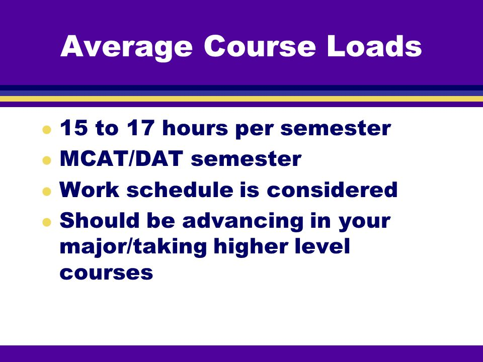 Average Course Loads 15 to 17 hours per semester MCAT/DAT semester