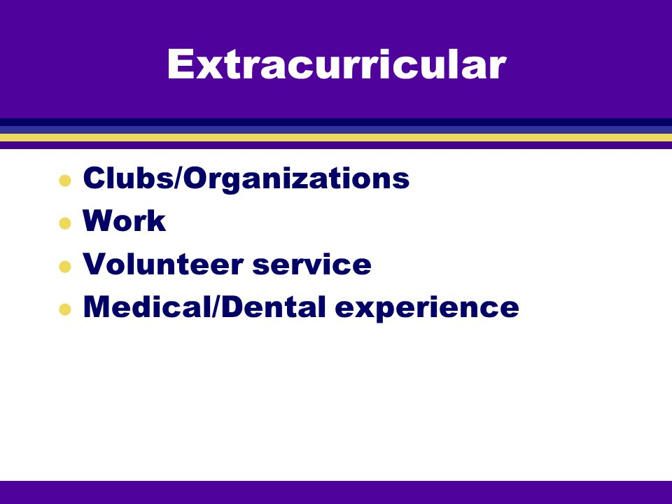 Extracurricular Clubs/Organizations Work Volunteer service
