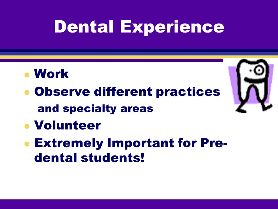 Dental Experience Work Observe different practices Volunteer