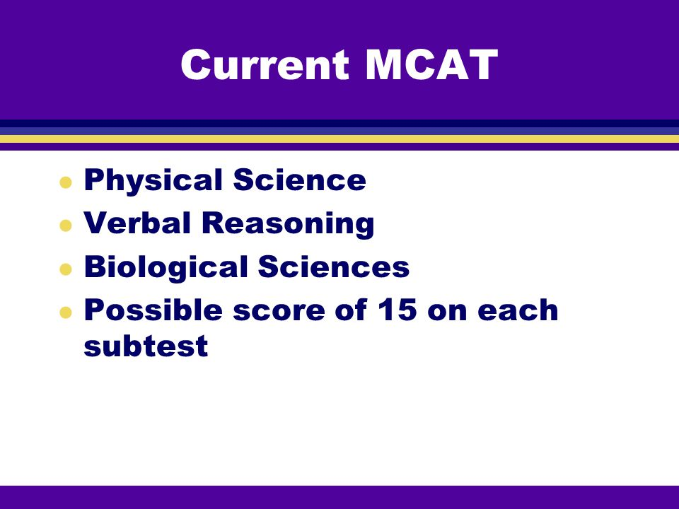 Current MCAT Physical Science Verbal Reasoning Biological Sciences