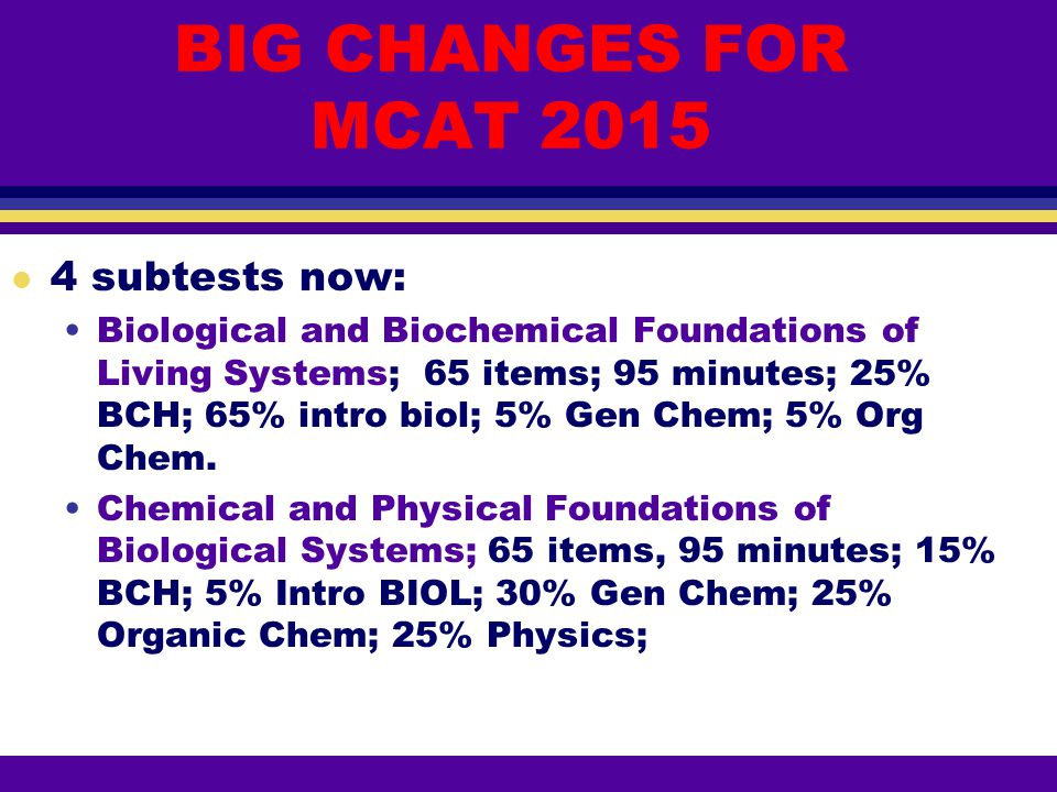 BIG CHANGES FOR MCAT 2015 4 subtests now: