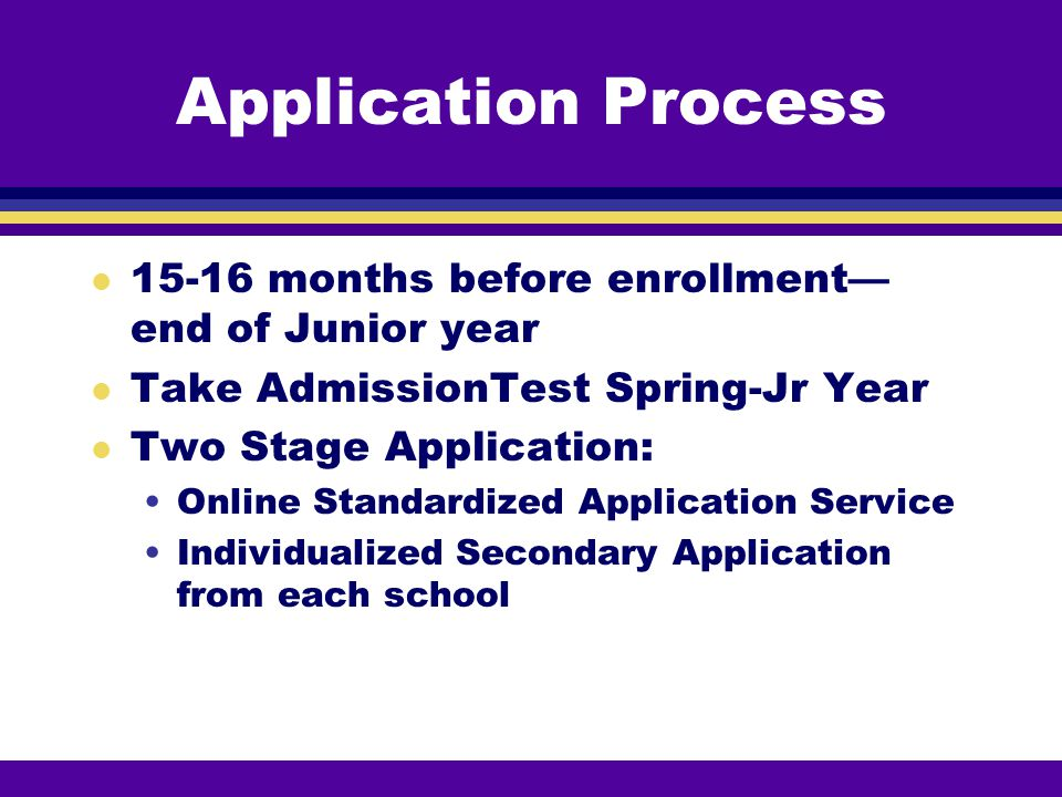 Application Process 15-16 months before enrollment—end of Junior year