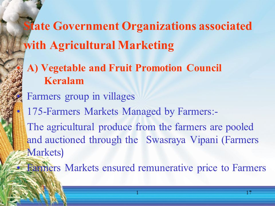 State Government Organizations associated with Agricultural Marketing