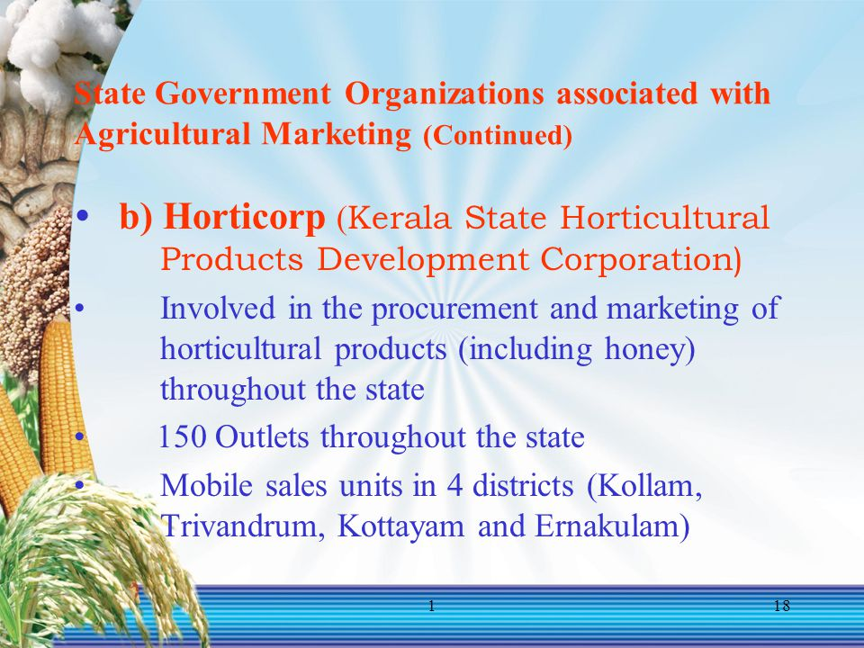 State Government Organizations associated with Agricultural Marketing (Continued)