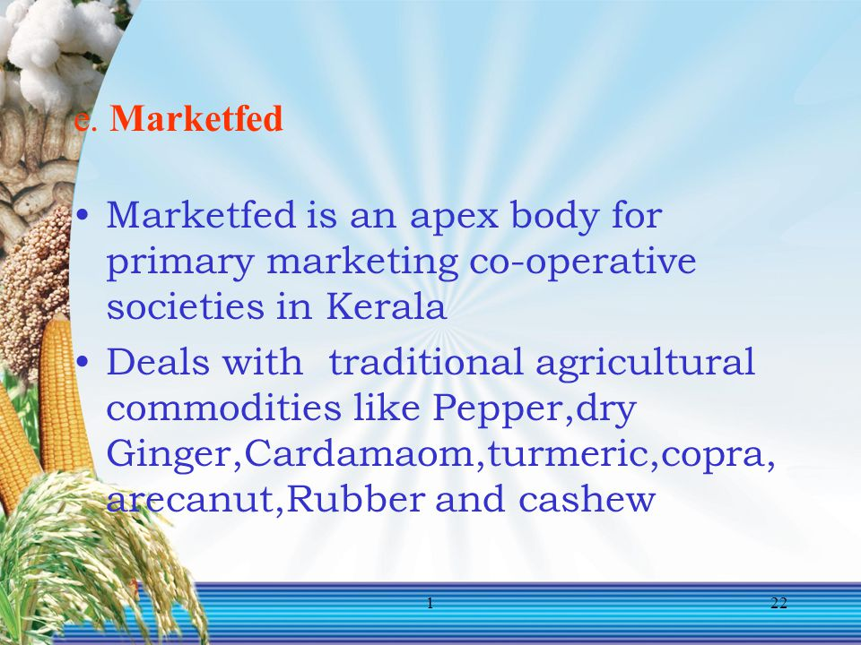 e. Marketfed Marketfed is an apex body for primary marketing co-operative societies in Kerala.