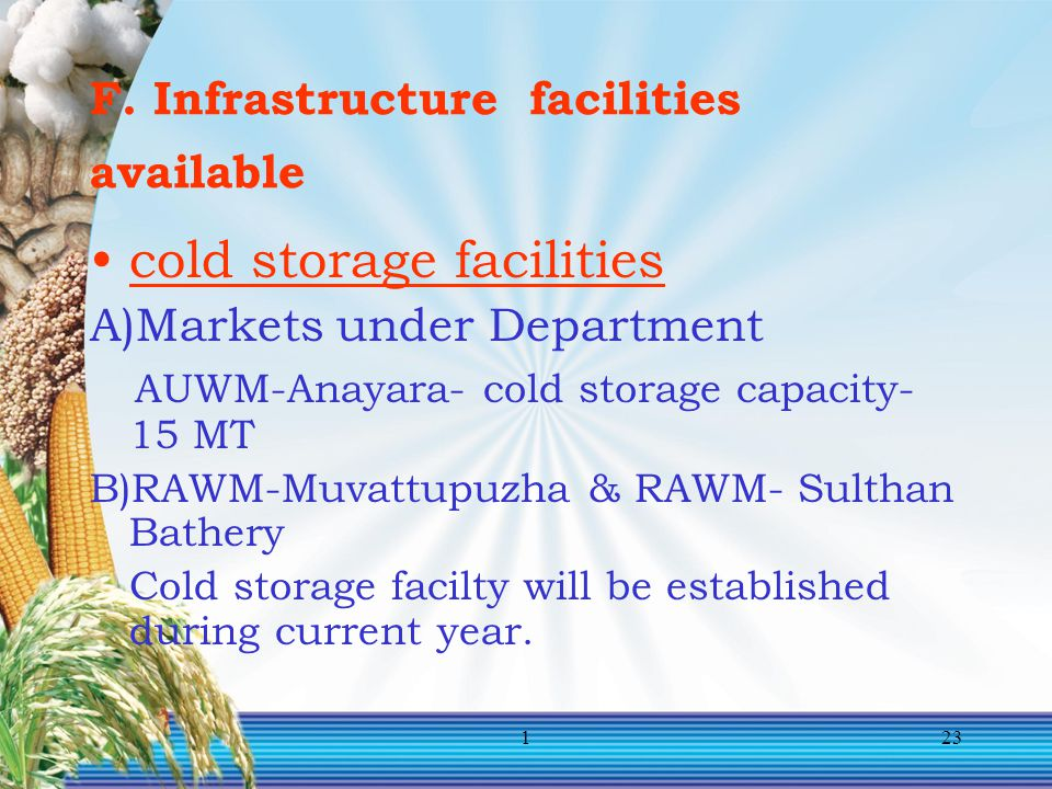 F. Infrastructure facilities available