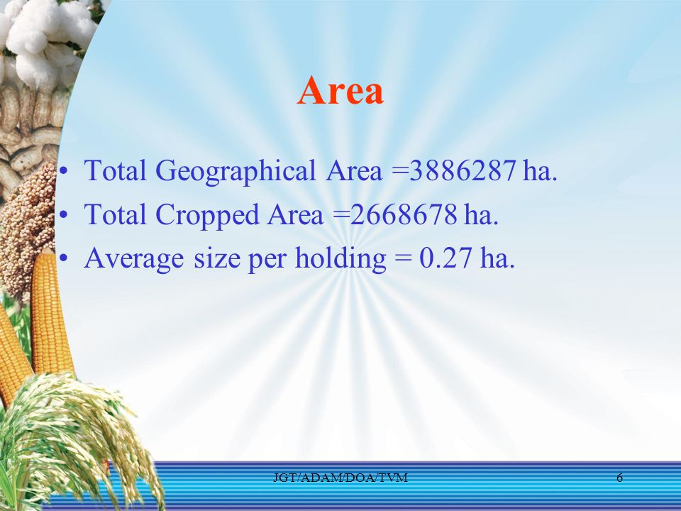 Area Total Geographical Area =3886287 ha.