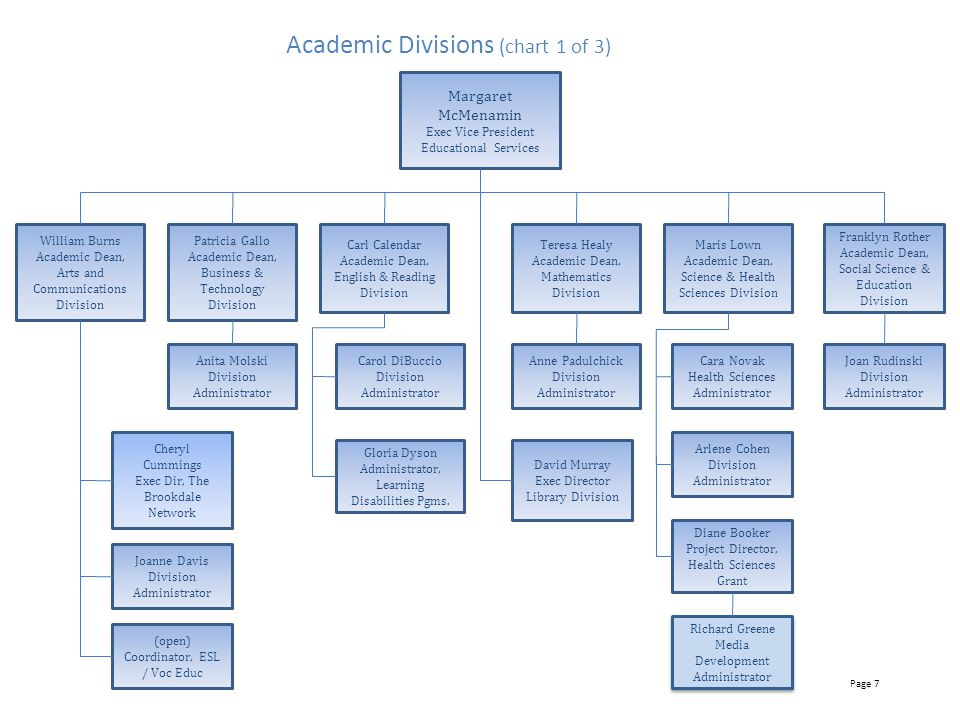 Academic Divisions (chart 1 of 3)