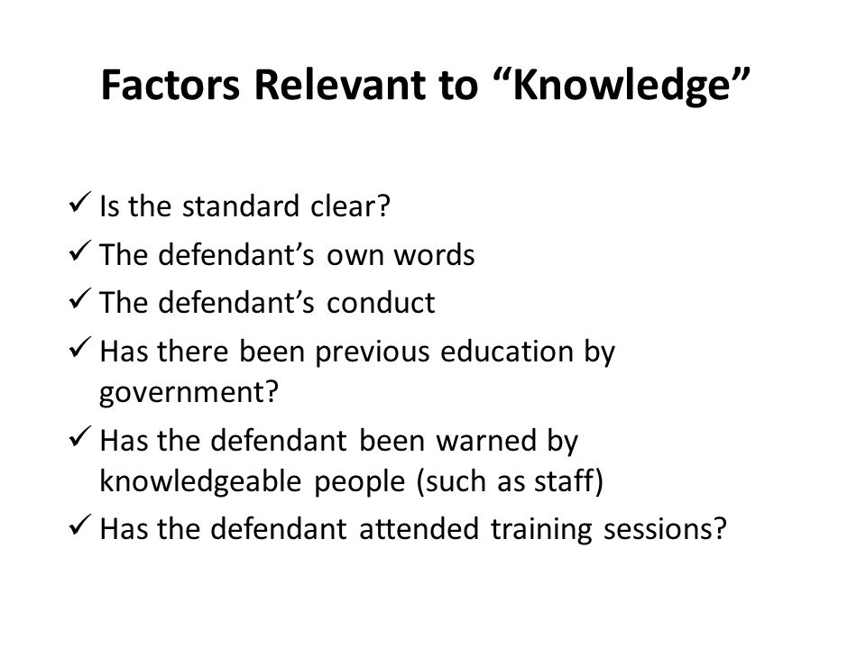 Factors Relevant to Knowledge